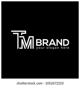 Letter T and M on Black Background.  Logo Design Template. Flat design. Latter TM
