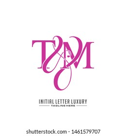 Letter T M TM logo initial vector. Initial luxury logo.