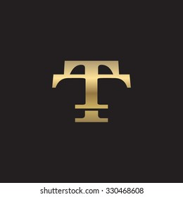 letter T and T monogram golden logo