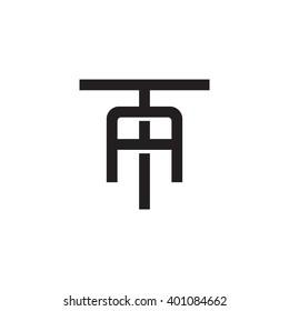 letter T and A monogram logo black