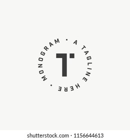 Letter T original minimalistic monogram. Clean and stylish lettering logo in circle.