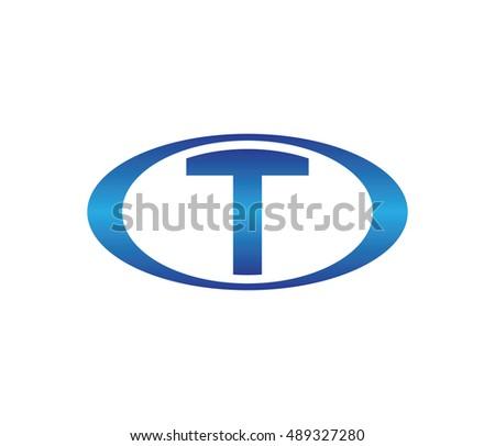letter t oval logo design template blue