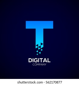 Letter T Pixel logo, Triangle, Blue color, Technology and digital logotype