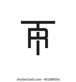 letter T and R monogram logo black