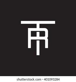 letter T and R monogram logo white black background