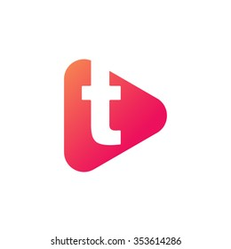 letter t rounded triangle shape icon logo orange red