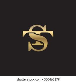 letter T and S monogram golden logo