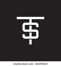 letter T and S monogram logo white black background