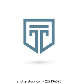 Letter T shield logo icon design template elements