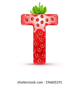 Letter T in strawberry style with green leaves