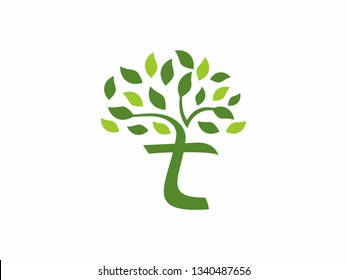Letter T Tree Leaf Logo with Green Trees that grow rapidly for all your businesses.