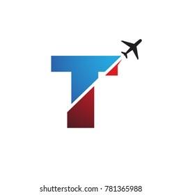 letter T, TT Travel logo template with plane