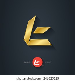 Letter T, Vector gold font. Elegant Template for company logo. Metallic Design element or icon. Pseudo origami style, including flat version.