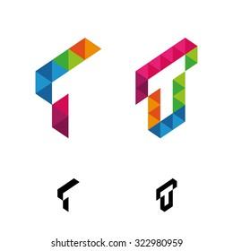 Letter T Vector Origami Logo icon