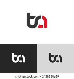 Letter ta linked lowercase logo design template elements. Red letter Isolated on black white grey background. Suitable for business, consulting group company.