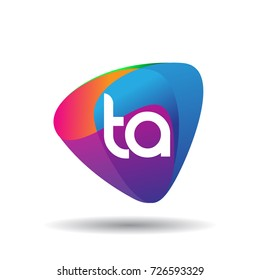 Letter TA logo with colorful splash background, letter combination logo design for creative industry, web, business and company.