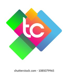 Letter TC logo with colorful geometric shape, letter combination logo design for creative industry, web, business and company.