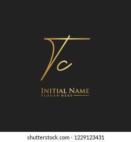 Letter Tc Logo. Initial Letter Design Vector Luxury Colors