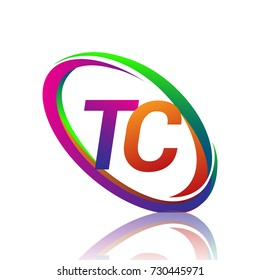 letter TC logotype design for company name colorful swoosh. vector logo for business and company identity.
