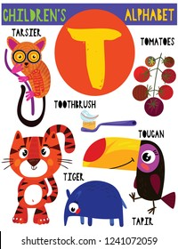 Letter T.Cute children's alphabet with adorable animals and other things.Poster for kids learning English vocabulary.Cartoon vector illustration.
