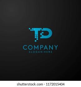 Letter TD digital logo design