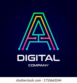 Letter A technology or digital vector logo template. This design use dot symbol. Suitable for company.