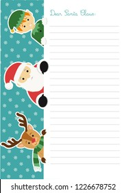 Letter template to Santa Claus with an illustration of him accompanied by an elf and a reindeer peeping out at the left side of the sheet