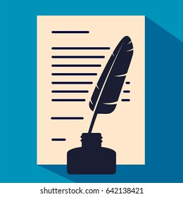 Letter, text on paper with pen and ink pot vector eps10 icon
