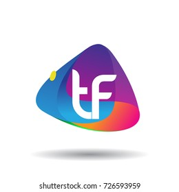 Letter TF logo with colorful splash background, letter combination logo design for creative industry, web, business and company.