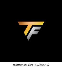 letter TF triangle logo icon template design