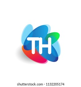 Letter TH logo with colorful splash background, letter combination logo design for creative industry, web, business and company.