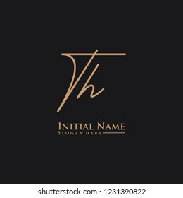Letter Th Logo. Initial Letter Design Vector Luxury Colors