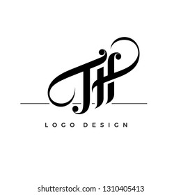 Letter TH typogrraphic logo design