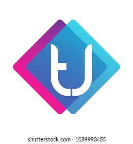 Letter TJ logo with colorful geometric shape, letter combination logo design for creative industry, web, business and company.