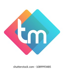 Letter TM logo with colorful geometric shape, letter combination logo design for creative industry, web, business and company.
