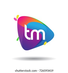 Letter TM logo with colorful splash background, letter combination logo design for creative industry, web, business and company.