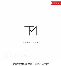 Letter TM Logo icon design. Premium Line Alphabet Monochrome Monogram emblem. Vector graphic design template element. Graphic Symbol for Corporate Business Identity.