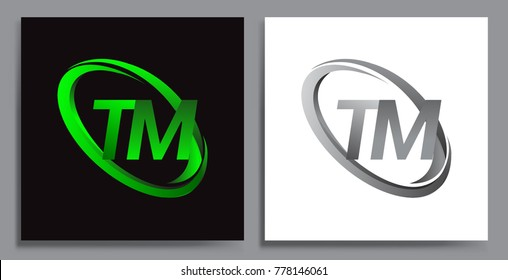 letter TM logotype design for company name colored Green swoosh and grey. vector set logo design for business and company identity.