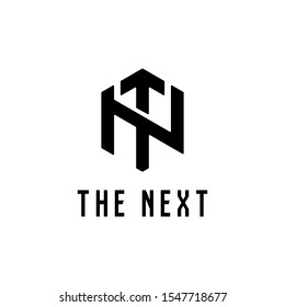 Letter TN or NT logo design template for startup with up arrow symbols on T