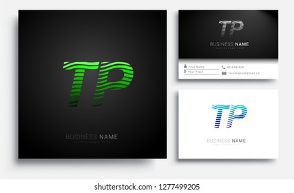 Letter TP logotype with colorful circle, with striped composition letter, sets of business card for company identity, creative industry, web.