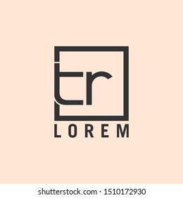 Letter tr linked lowercase logo design template. Dark grey on burlywood background. Suitable for business, consulting group company.