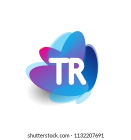 Letter TR logo with colorful splash background, letter combination logo design for creative industry, web, business and company.