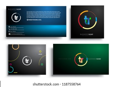 Letter TR logotype with colorful circle, letter combination logo design with ring, sets of business card for company identity, creative industry, web, isolated on white background.