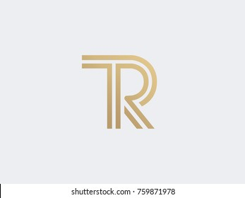 Letter TR luxury logo icon vector design. Premium line logotype. Royal gold linear emblem. Graphic alphabet symbol for corporate identity