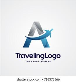 Letter A Travel Logo Template Design Vector, Emblem, Design Concept, Creative Symbol, Icon