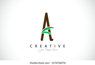 Letter A Tropical Design Logo Concept. Creative Icon Logo with Palm Tree Shape Vector Illustration.