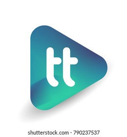 Letter TT logo in triangle shape and colorful background, letter combination logo design for business and company identity.