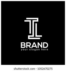Letter TT or letter T and T on Black Background.  Logo Design Template. Flat design