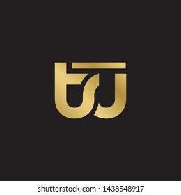 Letter tu linked lowercase logo design template elements. Gold letter Isolated on black  background. Suitable for business, consulting group company.