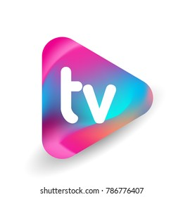 Letter TV logo in triangle shape and colorful background, letter combination logo design for business and company identity.